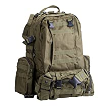 Basecamp Military Assault Tactical Backpack - 50L Outdoor Large Tactical Rucksack Backpack for Camping Hiking Mountain Trekking Bag Combined with 3 MOLLE Bags Pack Combat Rucksack Daypacks