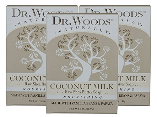 Dr. Woods Dr. woods coconut milk bar soap with vanilla beans, papaya, organic shea butter, 5.25 oz (pack of 3) ()