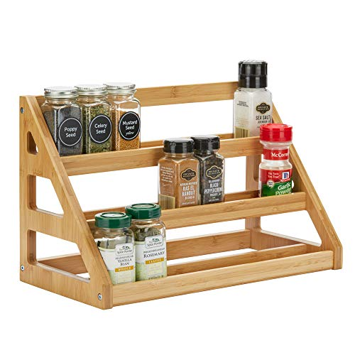 SpiceLuxe Bamboo Stadium Rack - 24 Jar Capacity - Beautiful Spice Organizer for Counter or Cabinets | Rack Only | Spice Jars Not Included | Assembly Required