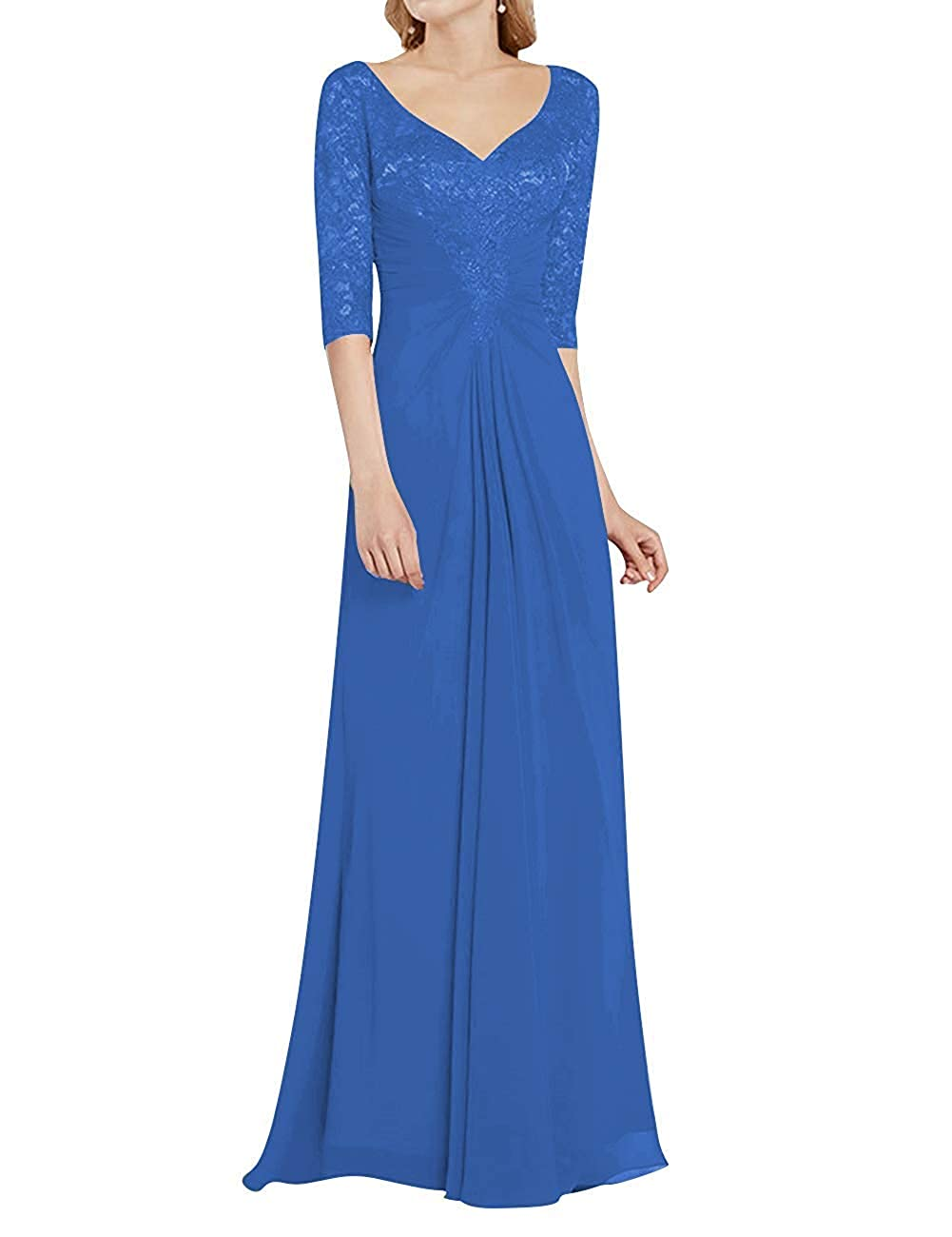 bluee Mother of The Bride Dress with Half Long Sleeves Formal Evening Gownes Mother Dresses
