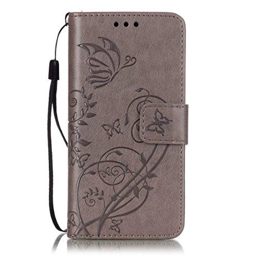 JIALUN-Personality teléfono shell Samsung Galaxy A3 2016 A310 estuche, caja de cuero de la PU de primera calidad Folio Flip estuche de la caja de la flor de estampado en relieve para Samsung A3 2016 A Gray