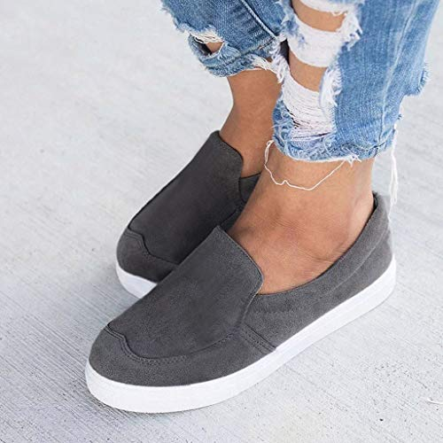 2019 New Women's Shoe Flat Low Heel Soft Solid Flock Single Shoes Shallow Casual Outdoors Sneakers Single Shoes (Dark Gray, 5.5 M US) by Aurorax Shoes (Image #5)