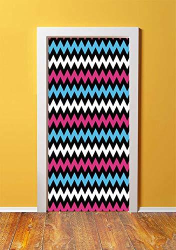 Modern 3D Door Sticker Wall Decals Mural Wallpaper,Colorful Zigzag Twisty Bands Winding Abstract Chevron Tiles Geometric Print,DIY Art Home Decor Poster Decoration 30.3x78.562,Pink Sky Blue Black ()
