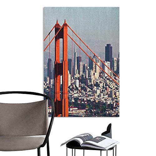 Jaydevn Self Adhesive Wallpaper for Home Bedroom Decor United States San Francisco Bridge and Cityscape Metropolis Financial District Orange Baby Blue White Elevator Stairs Wall W32 x -
