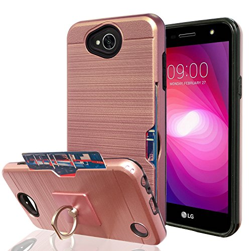 LG X Power 2 / X Charge / K10 Power / Fiesta 2 LTE Case With Phone Stand,Ymhxcy [Credit Card Slots Holder][Metal Brushed Texture] Hybrid Dual Layer Protective Cover Shell For LG LV7-LCK Rose Gold