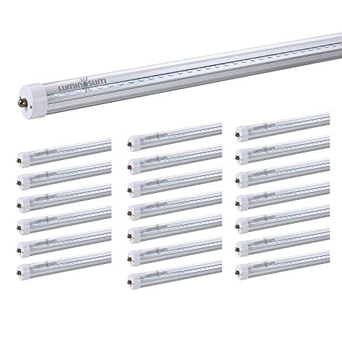 LUMINOSUM, T8 LED Tube Light 8ft 40W, Single Pin FA8 Base, Clear Cover, Cool White 6000k, Fluorescent Tube Replacement, ETL Certified, 20-Pack