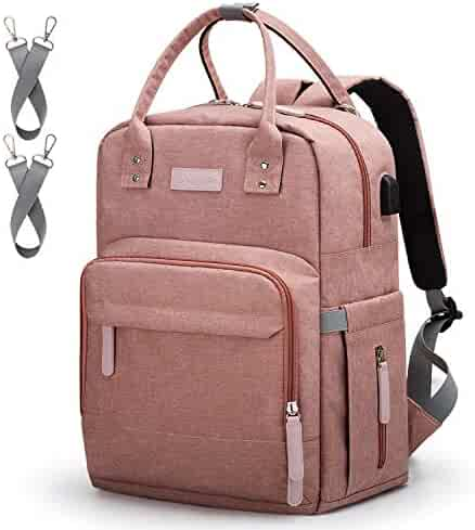 Diaper Bag Backpack Upsimples Multi-Function Maternity Nappy Bags for Mom & Dad, Travel Back Pack Baby Changing Bag with Laptop Pocket | USB Charging Port | Stroller Straps | Pink
