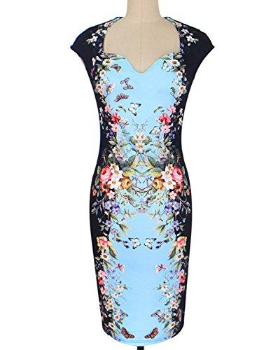 MODETREND Vestidos Para Mujeres Ajustado Estampado Floral Impresión Digital Vestido para Fiesta Bodas Cóctel Azul