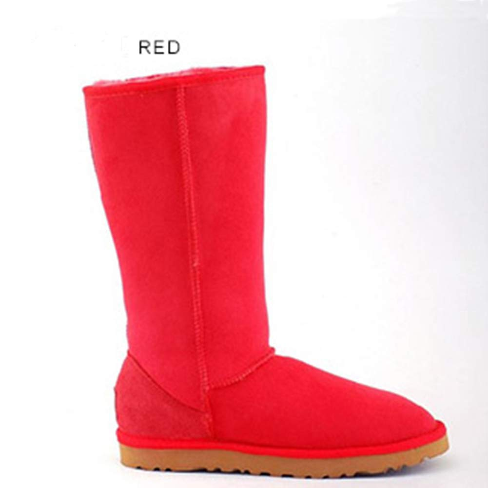 Red INOE CREATE GLAMOUR Women Snow Boots Classic Sheepskin Suede Real Sheep Fur Lined Winter Snow Boots for Women