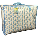 Large storage bag 65 litres. Blue sea horses pattern. Toys, washing and laundry bag by The Pescara Collection
