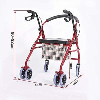 Andador Plegable Altura Ajustable con Placa De Asiento Marco De ...