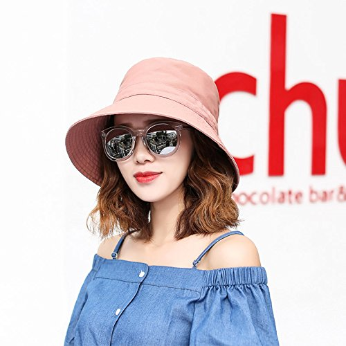(GAOQIANGFENG Female female Sun Visor Hat summer tide UV along the Beach Hat folding sun hat hat,Adjustable,Blue and)