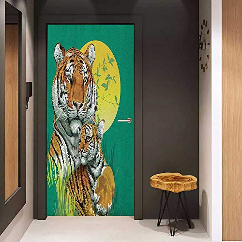 Onefzc Pantry Sticker for Door Safari Tiger Family in The Jungle Full Moonlight Night Grass Abstract Sticker Removable Door Decal W23 x H70 Jade Green Apricot Pale -