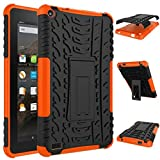 Keyboard Case SOUFUN Rubber Shockproof Hybrid Hard Case Cover Stand Holder For Kindle Fire HD7 2015 Leather Case Cover (Orange)