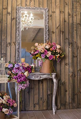 (Leyiyi 6x8ft Photography Background Happy Valentine's Day Backdrop Wedding Ceremony Flora Rustic Wooden Cottage Bouquet Mirror Flowerpot Crystal Chandeliers Marriage Photo Portrait Vinyl Studio Prop)