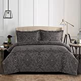 Wake In Cloud - Grey Duvet Cover Set Queen, Dark Gray Damask Victorian Pattern Printed, Soft Microfiber Bedding with Zipper Closure (3pcs, Queen Size)