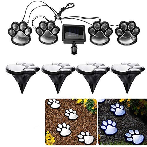 Finlon Paw Print Solar Garden Lights - Set of 4 Solar Powered Lights - Dog Puppy Pet Animal Paws Design Outdoor Landscape Lighting for Lawn Decor Gardening Landscaping Yard Pool Parties by Ideas In Li