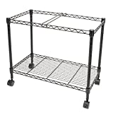 FCH 1-Tier Metal Rolling File Cart Portable File Cart for Letter Size and Legal Size Folder with 4 Rolling Wheels Black
