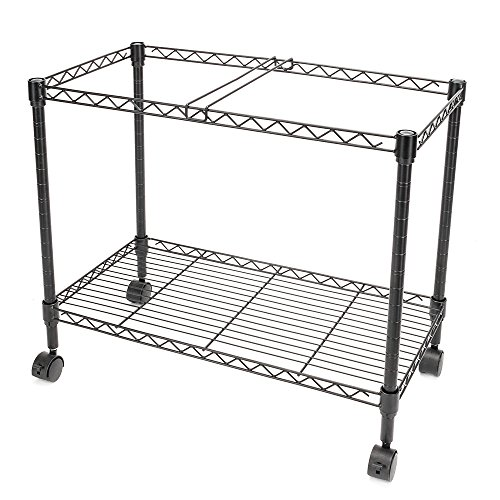 FCH 1-Tier Metal Rolling File Cart Portable File Cart for Letter Size and Legal Size Folder with 4 Rolling Wheels Black by FCH