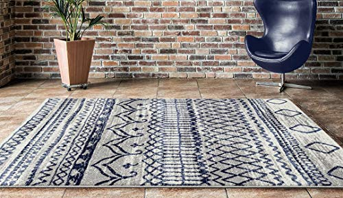 ADGO Ravenna Collection Modern Contemporary Ethnic Geometric Design Live Vivid Color Jute Backed Living Dining Bedroom Area Rugs Rug, Navy Blue Ivory, 6 6 x 9