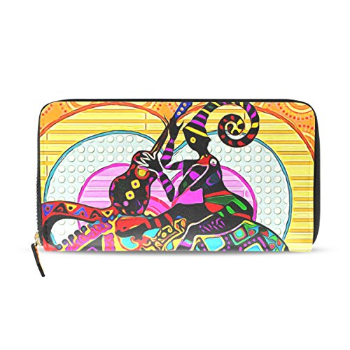 Womens Zipper Wallet Colorful Africa Elephant Clutch Purse Card Holder Bag by WIHVE