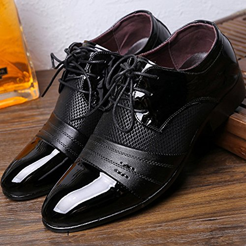 Cuero Zapatos PU Zapatos 39 EU Fang Splice shoes de Hombre Smooth Hombre Lace Superior Negro 2018 Marrón Up Color Negocios de Transpirable Oxfords Tamaño de Malla wIwvqO