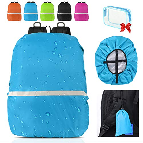 Waterproof Backpack Rain Cover With Reflective Strip,Perfect for hiking backpack,travel backpack,camping backpack,business bag,etc.-Includes Carry Bag (Blue, Middle(for 30-40L backpack))