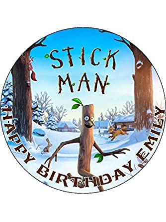 Stick Man 75 Round personalised birthday cake topper printed on
