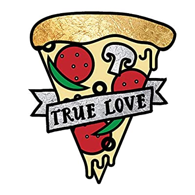 MY TRUE LOVE IS PIZZA set of 25 premium waterproof metallic colorful temporary foil Flash Tattoos - Party Favors, Party Supplies, Valentine's Day, pizza, food, kids: Beauty