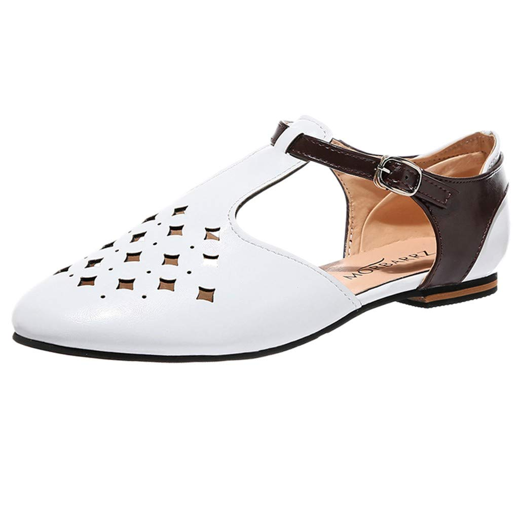 Women's Summer Sandals Solid Pointed Shoes Retro Buckle Roman Hollowed Breathable Sandals Rubber Walking Shoes (White, US:7)