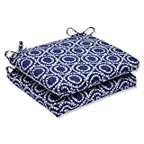 Cheap Pillow Perfect Outdoor Ring a Bell Squared Corners Seat Cushion, Navy, Set of 2