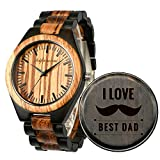Wood Watches, shifenmei Natural Handmade Wooden Watch Analog Japanese Quartz Movement Wood Watch Mens with Exquisite Box (SFM-5533-for Dad)
