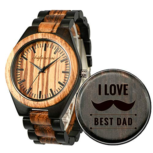 - Wood Watches, shifenmei Natural Handmade Wooden Watch Analog Japanese Quartz Movement Wood Watch Mens with Exquisite Box (SFM-5533-for Dad)
