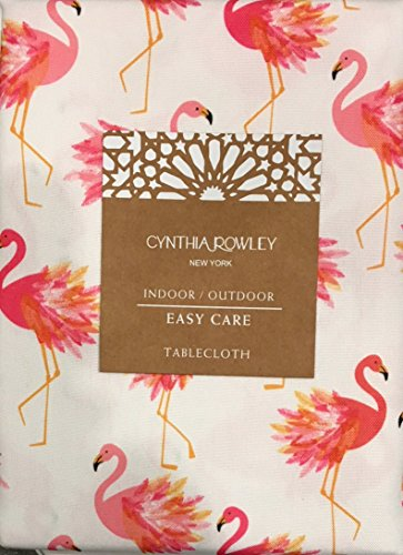 Cynthia Rowley Indoor/Outdoor Fabric Tablecloth Featuring Pink Flamingos | Easy Care Polyester | 60