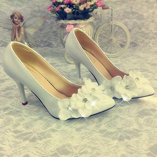 Red Fine Women's Photograph Shoes Heel Flowers and Bride's Heel Dress Super Prom 5 Wedding Shoe Flower Single Tip To Light Sandals Wedding 7 Bridesmaid VIVIOO R1UPqw