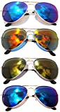 Classic Metal Aviator Sunglasses Mirror Lens Gold, Silver Color Frame 4 Pairs OWL.