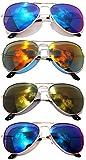 Classic Metal Aviator Sunglasses Mirror Lens Gold Color Frame 4 pairs