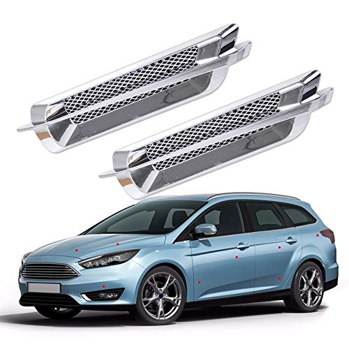 Love^Store - Exterior Decoration - Silver Car Side Air Vent Fender Cover Hole Intake Duct Flow Grille Decoration Sticker 1 - Shark Side Skirts