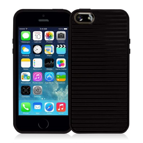 EMPIRE GRUVE Full Schutz TPU Case Tasche Hülle for Apple iPhone 5 / 5S - Schwarz (Displayschutzfolie
