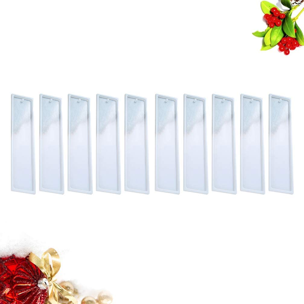 Milisten 10pcs Silicone Bookmark Molds with Hole Epoxy Molds Resin Casting Molds for DIY Craft Bookmark Making Accessories