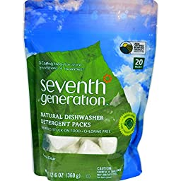 Seventh Generation Auto Dish Pacs, Free & Clear, 20 ct, 12pk