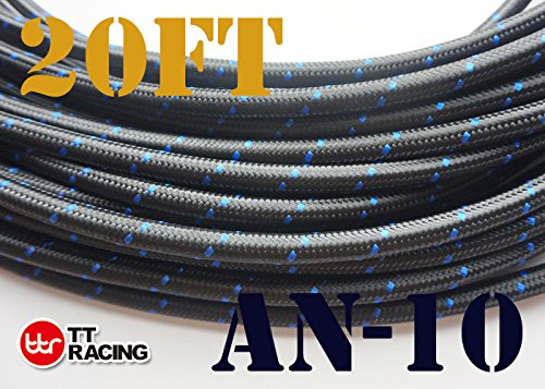 20 Feet -10AN AN10 Steel Nylon Braided Oil Gas Fuel Hose Line & Black Swivel Fitting Kit