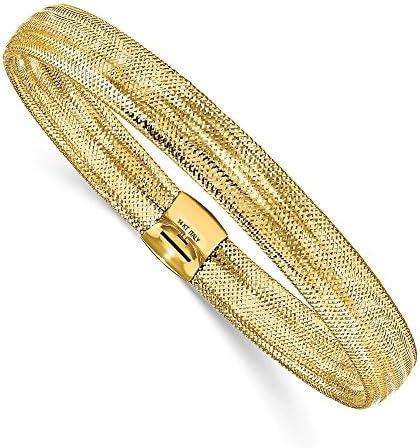 Solid 14k Yellow Gold Mesh Stretch Bracelet