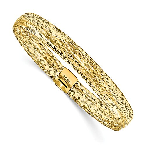 Solid 14k Yellow Gold Polished Mesh Stretch Bracelet (Yellow 14k Gold Mesh Bracelet)