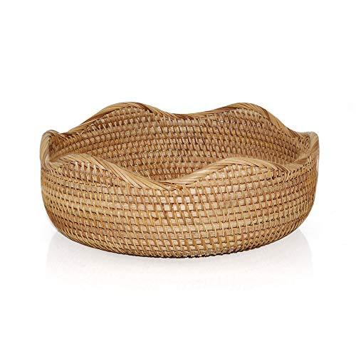 11'' Handcrafted Rattan Bread Basket Food Fruit Vegetables Serving Basket Flower Basket Attractive Table Setting for Holiday Dining,Wave Round (Honey Brown)