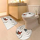 Printsonne Toilet Cushion Suit Zen Rock On The Sand Butterfly Serenity Life Cycle Nature Meditation Decor Beige in Bathroom Accessories