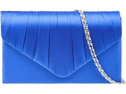 HANDBAG SATIN BAG HAND LADIES BRIDAL CLUTCH Blue PROM fi9® EVENING PARTY PURSE Royal 5v8xB