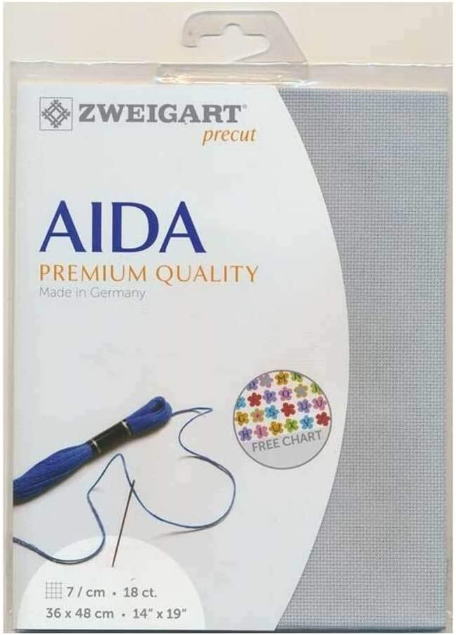 Tela para Punto de Cruz Color Gris Azulado 48 x 53 cm Marussia.shop Aida Zweigart Precute 18 CT Fein-Aida 3793