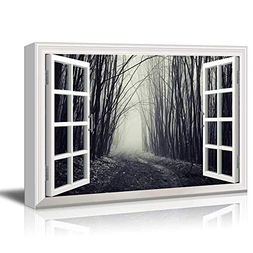 White Window Looking Out Into a Dark Foggy Branch Forest