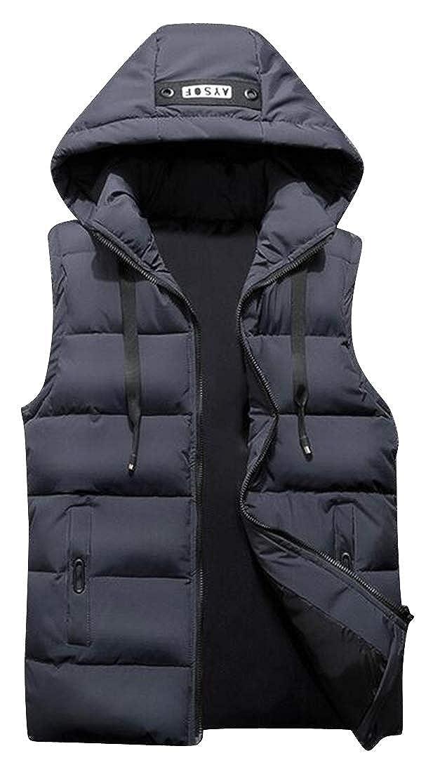 WAWAYA Mens Thicken Fall Winter Hoodie Warm Down Quilted Waistcoat Vest Jacket